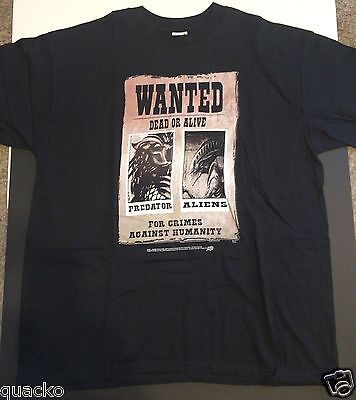 Aliens vs. Predator Wanted Poster T-Shirt Comic Images #01005 Black Size Large
