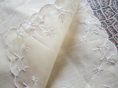 lot off 3 Vintage hankerchief  from linen handrolled-embroidered-brussel lace