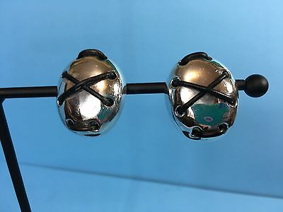 Vintage SIMON SEBBAG 925 Sterling Silver Earrings Mid Modern Leather Button Clip