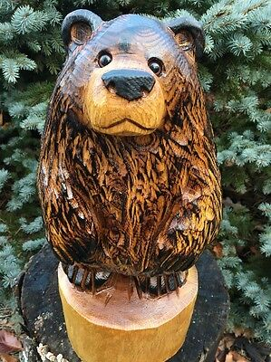 Chainsaw Carved Bear Red Oak Wood Carving Log Rustic Home Garden Decor