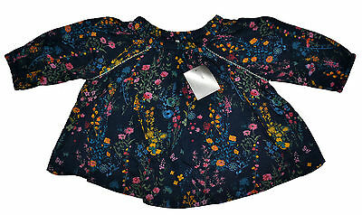 Next Baby Girls Navy Floral Shirt Top Blouse Age 3-6 Months Eur 68Cm New Viscose