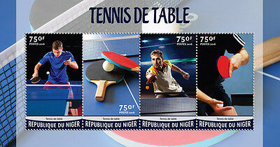 Niger 2016 MNH Table Tennis 4v M/S Sports Stamps