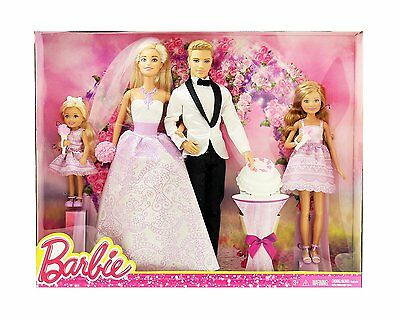 Barbie I Can Be A Bride Wedding Day Set Exclusive 4 Pack - Barbie Ken Stacie ...