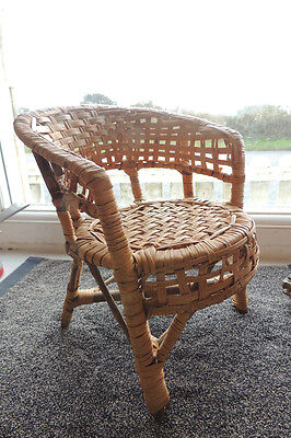 Stunning wicker chair miniature for doll teddy bear display vintage rustic