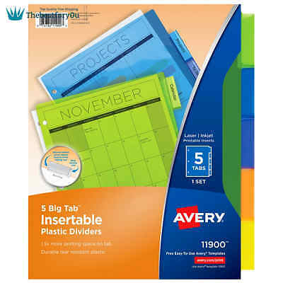 School Office Binder Index Dividers Big 5 Tab Insert Plastic More Text Organizer