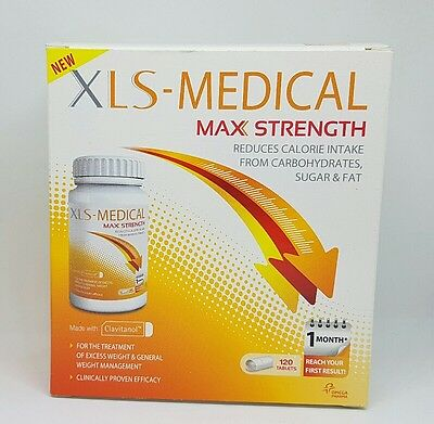 New Boxed XLS MEDICAL Max Strength Weight Loss Aid 120 Tablets / 1 Month Supply