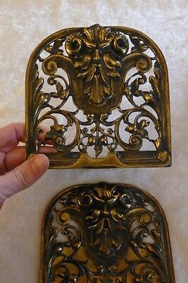 Antique Gothic Brass Bookends with Green Man B. Altman & Co. Czechoslovakia