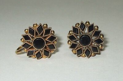 Antique Vintage Solid 14K Yellow Gold Black Glass Cluster Flower Screw Earrings