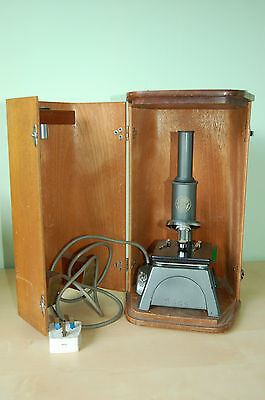 C BAKER LONDON 2832 microscope with wooden storage box