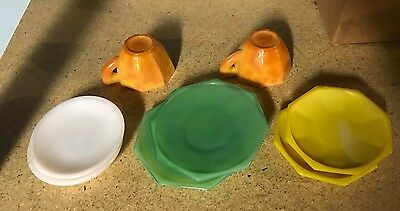 Vintage AKRO AGATE CHILDS CUPS AND SAUCERS MISC. LOT Of 8
