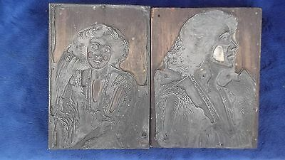 Two Antique Printing Plates, Portraits Of Same Lady - Super Item