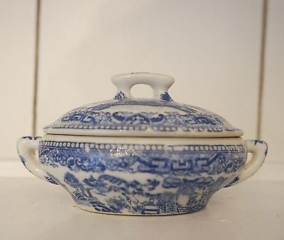 Antique Staffordshire Child's Blue Willow Transferware Covered Tureen