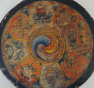 659B Old Buddhist Thangka Painting Art On Wood With Saturated Colors