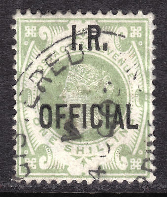 1889 GREAT BRITAIN INLAND REVENUE OVERPRINT OFFICIAL #O12 1sh GREEN, VF, CDS