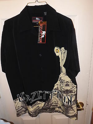 Dragonfly Led Zeppelin Stairway Short Sleeve Button Up Club Shirt New Tags
