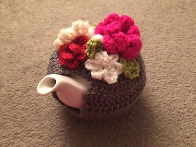 Tea cosy with flowers for small 1 or 2 cups teapot cozy cover cosie handmade
