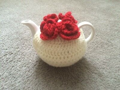 Tea cosy with 3 flowers for small 1 or 2 cups teapot cozy cover cosie handmade
