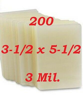 3 x 5 Laminating Pouches Sheets Index Card 3-1/2 x 5-1/2 (200 Pc) 3 Mil.