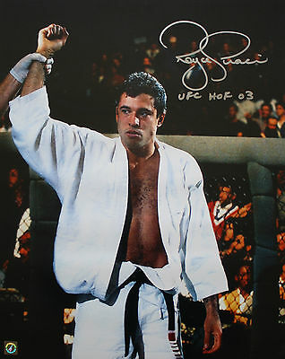 "ROYCE GRACIE UFC AUTOGRAPHED 16x20"" ""ARM RAISED"" PHOTO AUTHENTIC SIGNING COA"