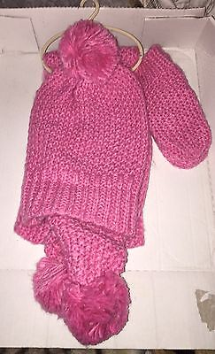 New Next Pink Hat, Scarf And Gloves Set For Girl Aged 7-10 Years