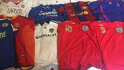 Lot of 9 football jerseys - Rooney, Owen, Beckham, Real Madrid, England, Spain
