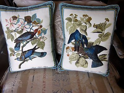 2 vintage elegant quilted bird pillows blue sparrows with floral 10 X 12