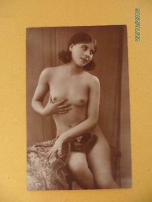 Original French 1910's-1920's Postcard Nude Erotic Sexy Lady Holding Breast #74