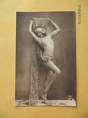 Original French 1910's-1920's Nude Erotic Postcard Gorgeous Classy Lady  #63