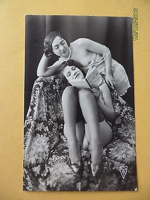 Original French 1910's-1920's Biederer Postcard Nude Erotic Women Lesbians #48