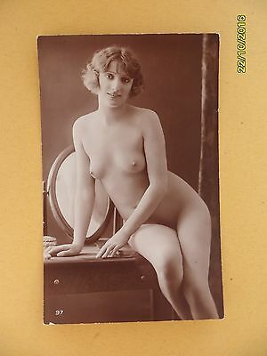 Original French 1910's-1920's Postcard Nude Erotic Lady Sexy Sitting Pose #70