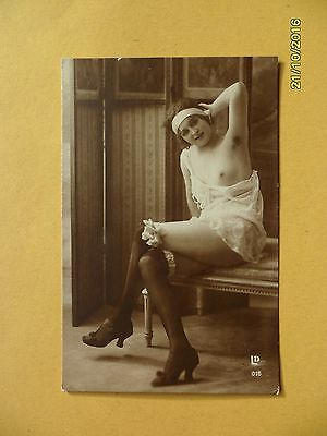 Original French 1910's-1920's Nude Risque Postcard Seductive Lady Stockings #56