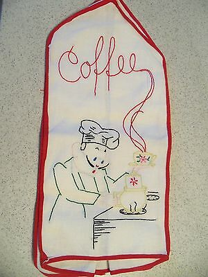 "Vintage Embroidered ""Coffee"" Percolator Cover~Retro~Kitsch"