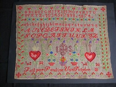 1874 Antique Catholic Sampler - Cross Stitch - Signed Pauline Van Tichelen