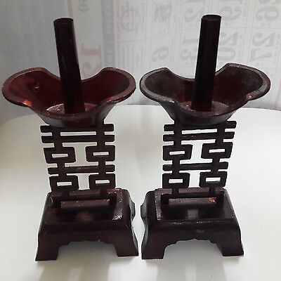 Pair of Old Antique Arts Chinese and Crafts Stainless Candlestick Collectibles