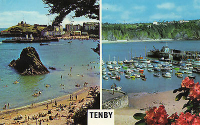 OLD POSTCARD  - WALES - Tenby - multiview - Colourmaster - Posted 1977