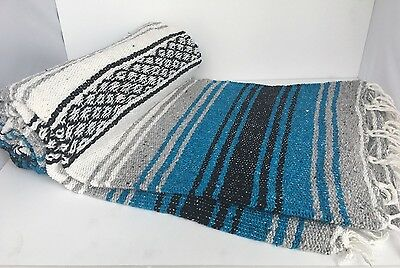 """Authentic Blue Mexican Falsa Blanket Hand Woven Yoga Blanket 48"""" X 72"""""""