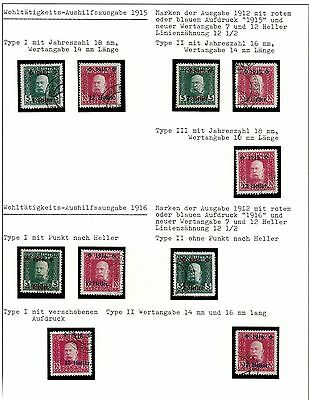 Bosnia 1915/16 overprint on Franz Joseph stamps, different types , used