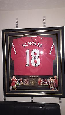 Manchester United Limited Edition Framed Paul Scholes Signed Shirt & COA 9/75