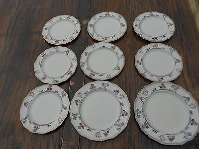 """9 Vintage Alfred Meakin Marigold Astoria Shape Willowette Plates 6.5"""" and 7.5"""" d"""