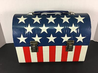 Vintage Aladdin American Flag Metal Dome Lunch Box