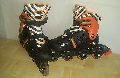 Kids Zinc Zebra / Orange / Black Inline Skates - Size 13 Kids to 3 Adjustable