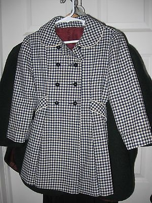 Vintage Childs Girls  Navy Blue check Wool Dress Coat Rothschild usa size 4