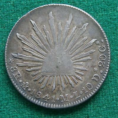 1841 MEXICO SILVER  8 Reales  Coin Mo ML Caps & rays low date