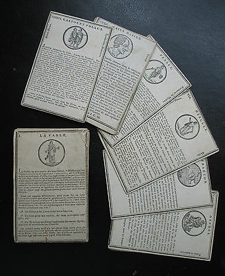 C1800 Very Old 48 Mythological Cards Jouy Vanackere Rare Education Game Woodcuts