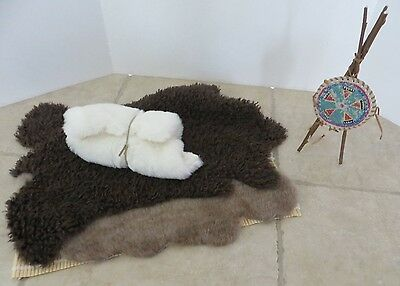 American Girl Doll Kaya's Bedroll, Shield, fur pillow and 2 hides - RETIRED OP