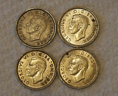 Lot of 4 3 Pence silver coin coins 1937-1940 Great Britain UK England