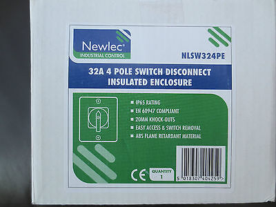 Newlec 32A 4 Pole Switch Disconnect Insulated Enclosure