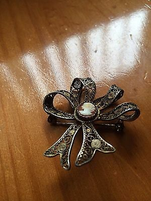 Vintage Silver Filigree/lacy Pin/brooch With Pale Orange Cameo