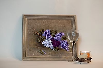 Silk Ribbon Embroidery Lilac Flowers Handmade Folk Art signed with frame
