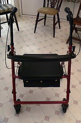 Lightweight Adjustable Four Wheeled Walker With Seat